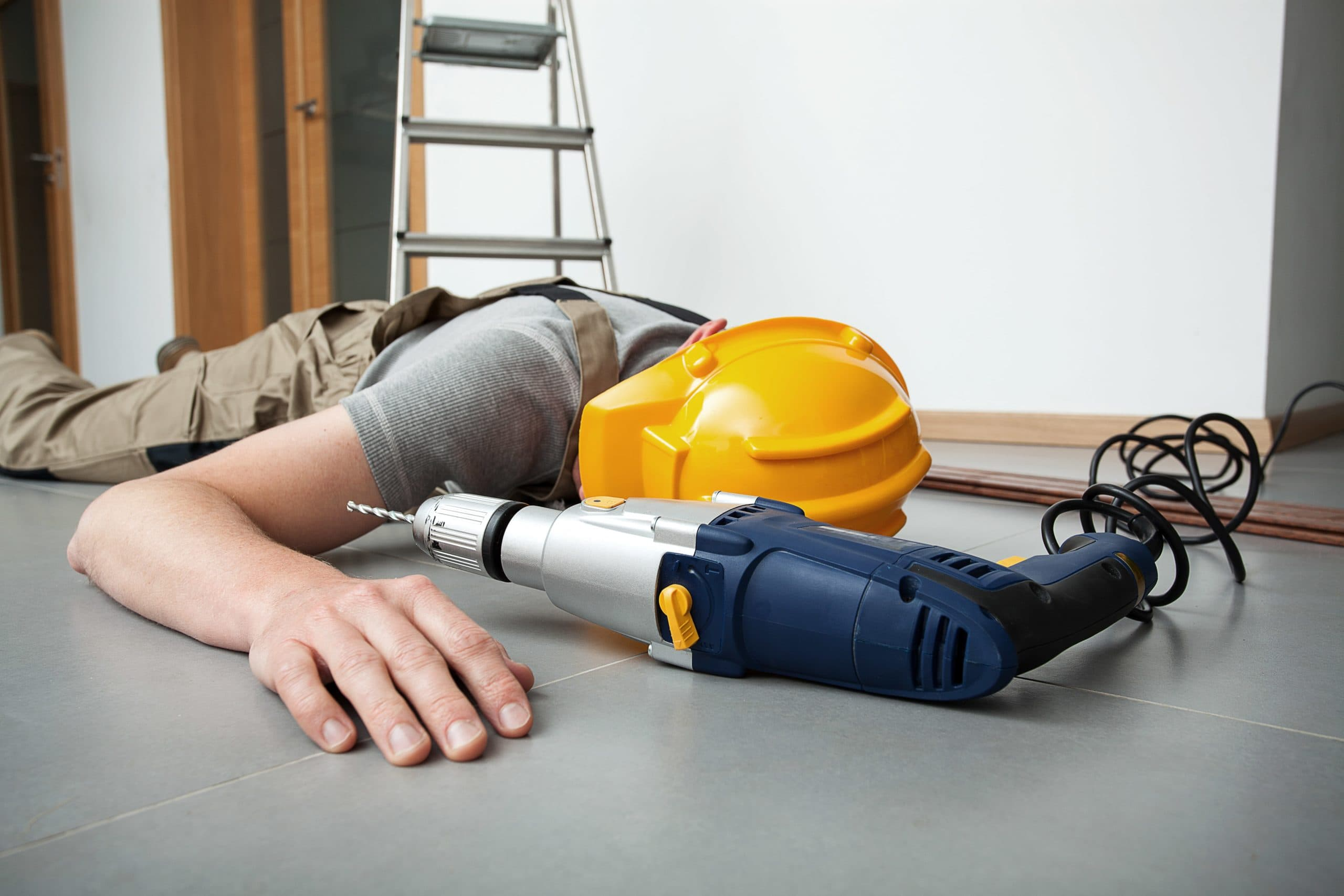 Electrician getting injured while fixing wires.