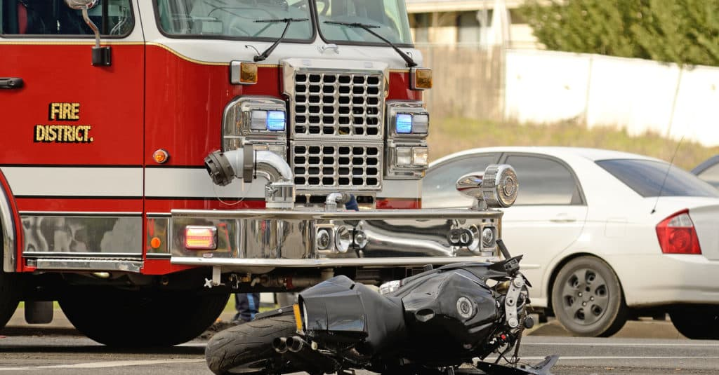 Motorcycle accident due to a drunk driver.